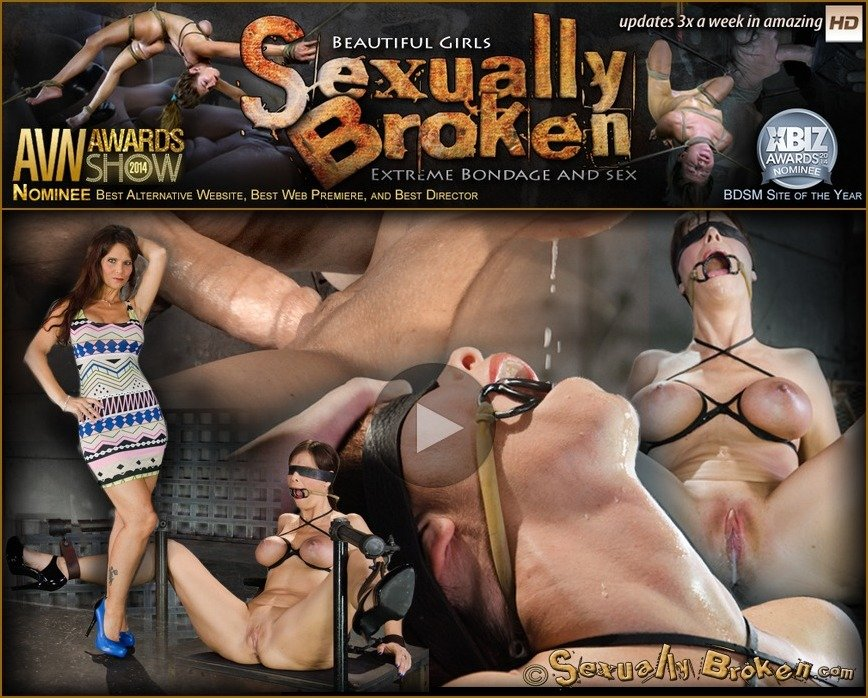 [BDSM / Bondage] - Syren De Mer, Matt Williams, Jack Hammer - Busty blindfolded MILF Syren De Mer restrained in strict device bondage and BRED by two hard cocks! (2016 / SexuallyBroken / HD 720p)